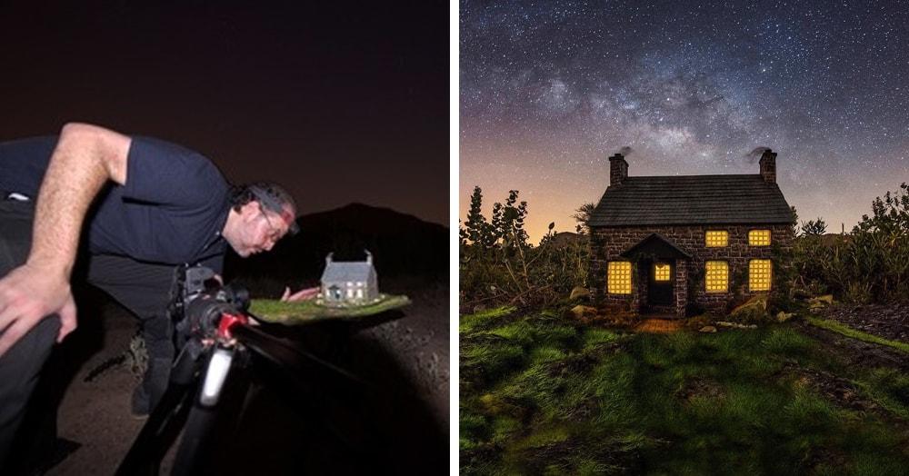 Фотограф снимает игрушечные домики на фоне звёздного неба, и его работы — просто космос