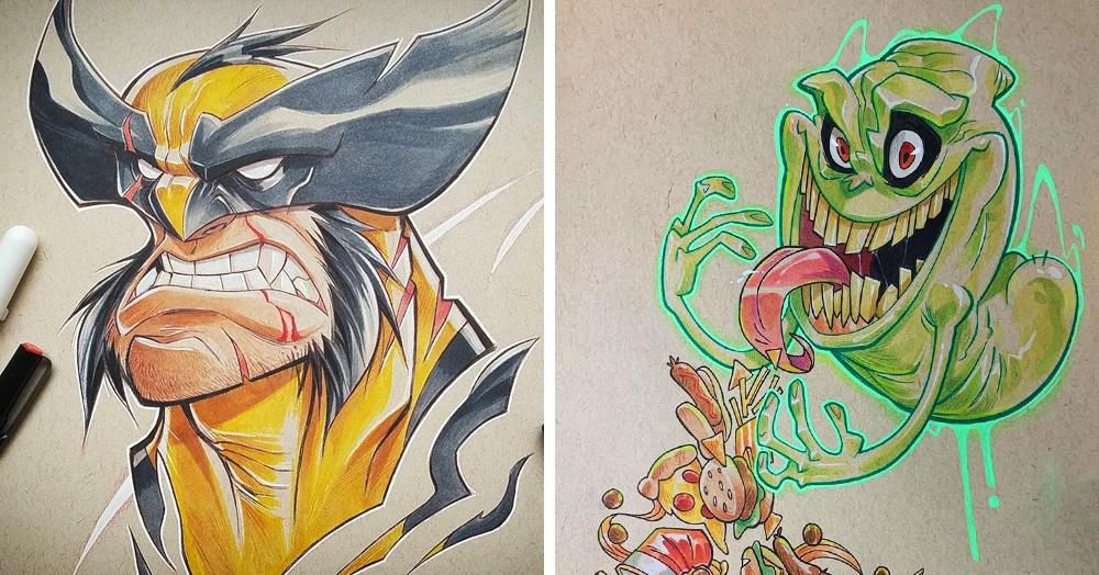15 работ художника, который рисует героев на крафт-бумаге, и это только добавляет им изюминку