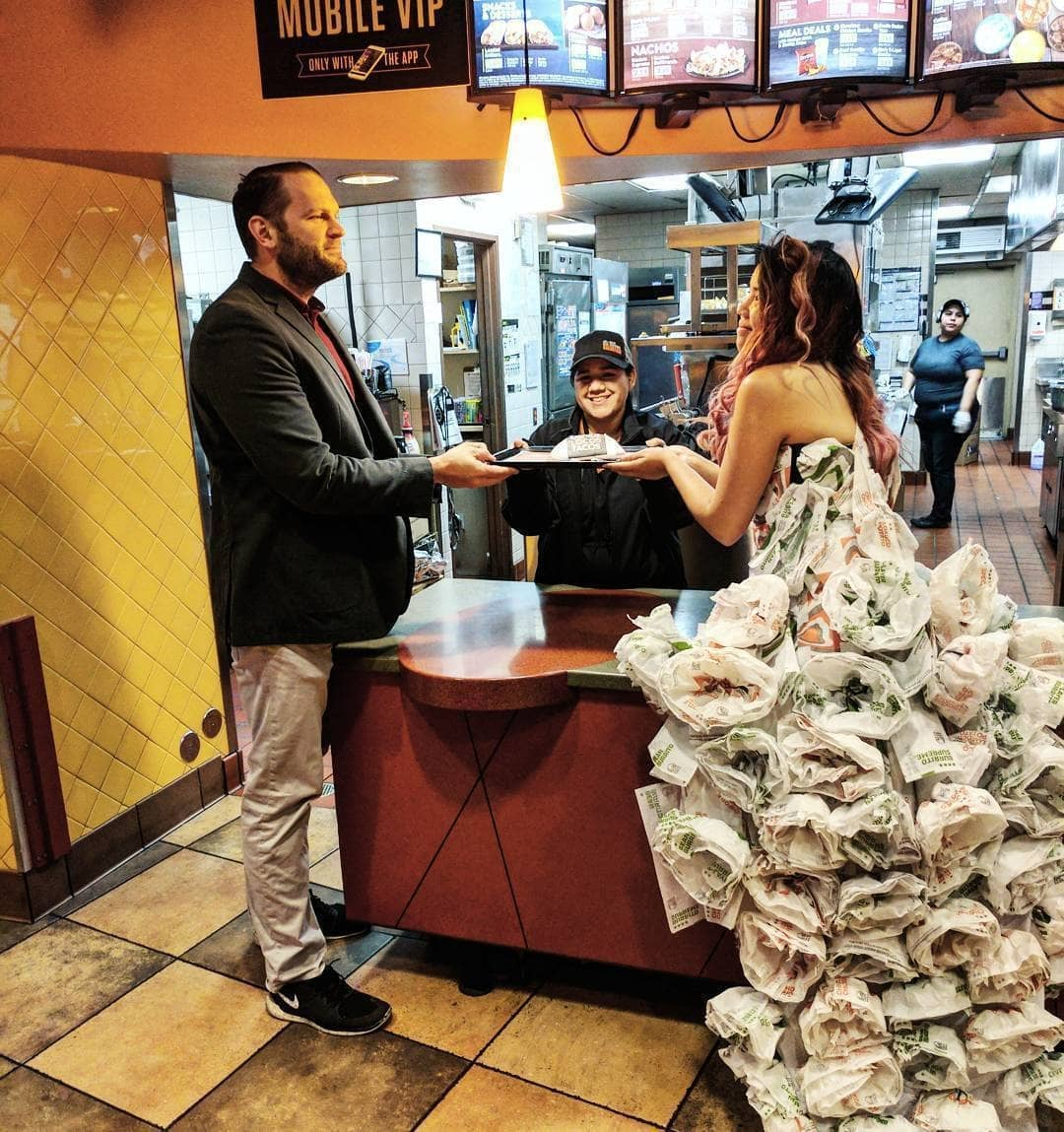 Seriously! Someone created a wedding dress out of burrito wrappings.