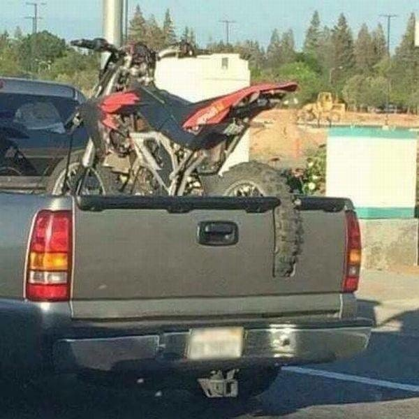 If your dirt bike won't fit on the bed of the back of your truck, try this.