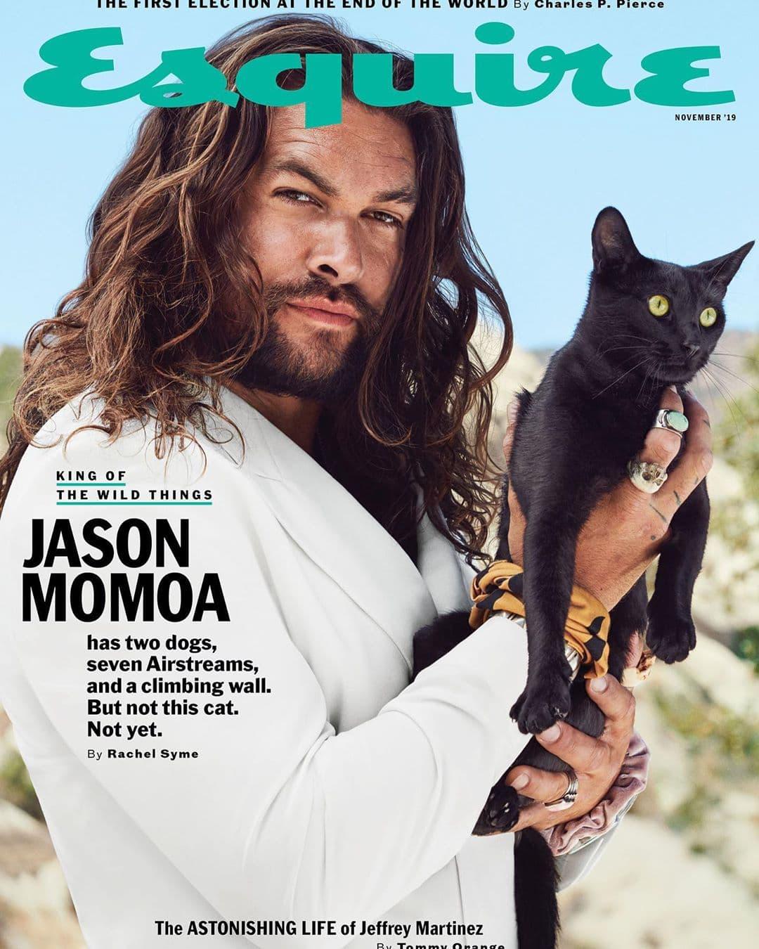 Джейсон Момоа взорвал Инстаграм съёмкой для Esquire. Хотя он просто ест, гладит утюгом и держит кота