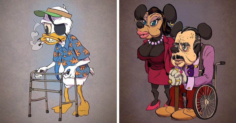 Художник представил, как выглядели бы герои знаменитых мультиков в старости