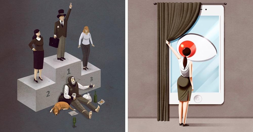 25 острых сатирических иллюстраций, которые невероятно точно бьют по проблемам современного общества