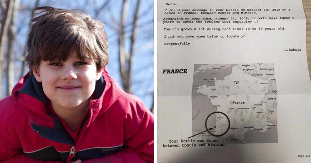 В 2010-м американский мальчик бросил в океан письмо в бутылке. Ответ пришёл из Франции 9 лет спустя