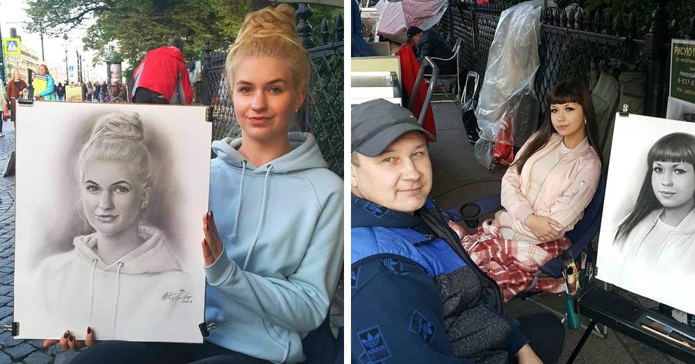 Уличный художник из Питера рисует реалистичные портреты, и на это у него уходит не больше часа