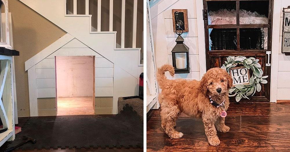 Американка построила домик для щенка под лестницей. И там есть всё для шикарной собачьей жизни