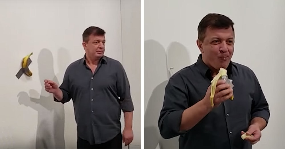 Банан, приклеенный скотчем к стене, был продан за 7,6 миллиона. А потом пришёл посетитель и съел его