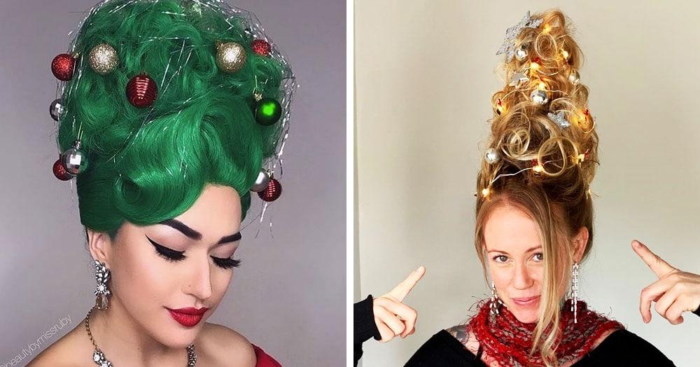 Девушки придумали праздничный тренд и теперь украшают ёлки не только дома, но и на своей голове