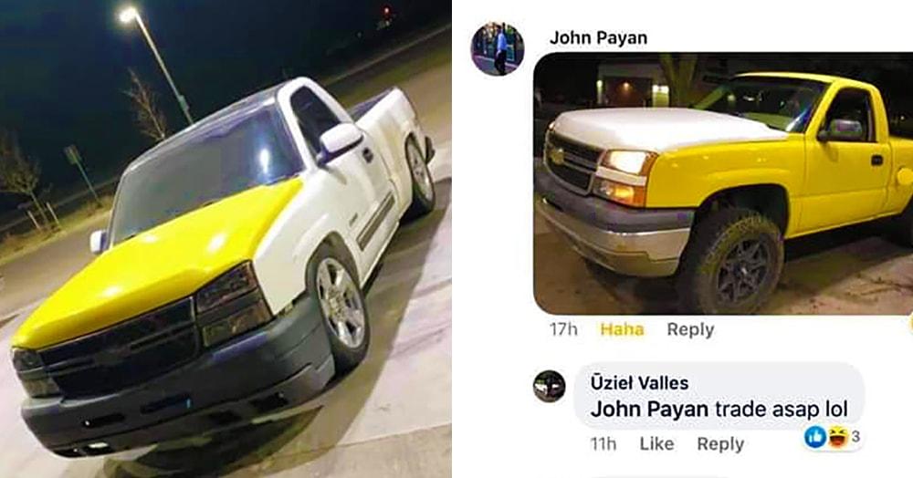 Мужчина хотел поменять нелепо-жёлтый капот на своём белом пикапе, но не думал, что ему ТАК повезёт