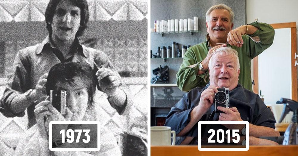 Британец больше сорока лет доверял свои волосы одному парикмахеру, запечатлевая эти визиты на фото