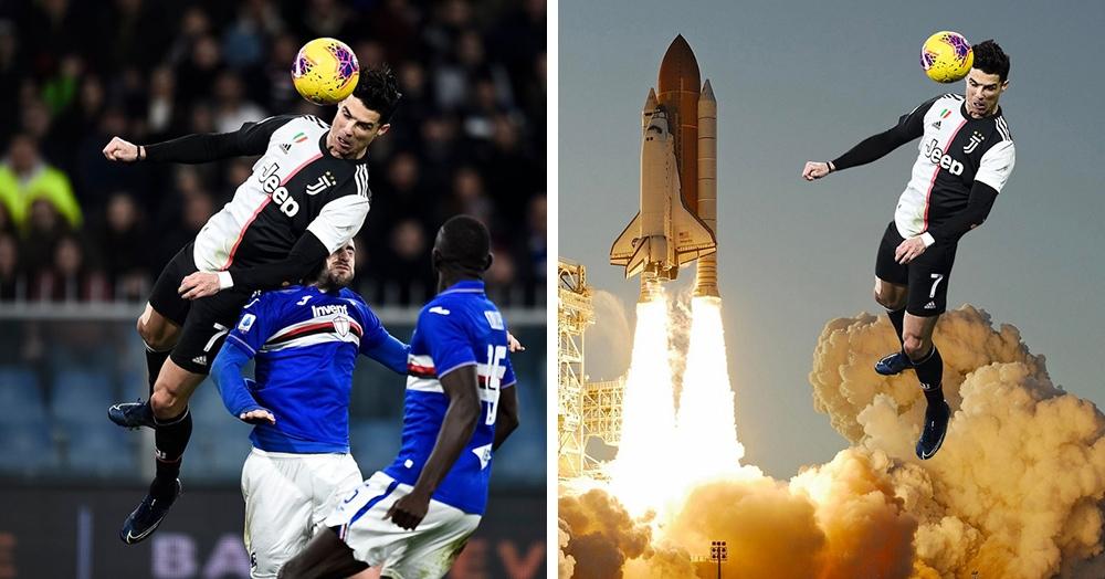 Криштиану Роналду забил невероятный гол с высоты 2,56 метра и стал героем фотошоп-пародий