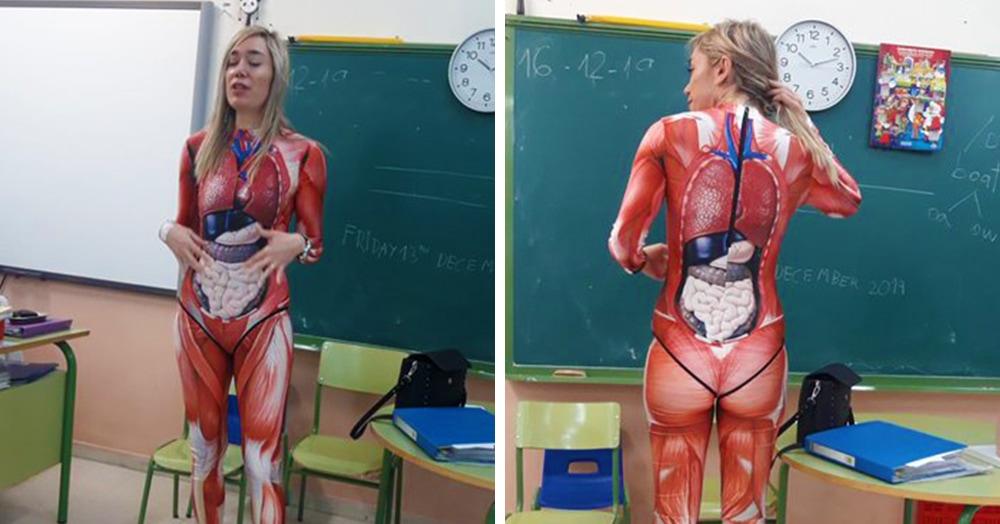 Учительница анатомии из Испании провела урок в костюме внутренних органов. Детям очень повезло!