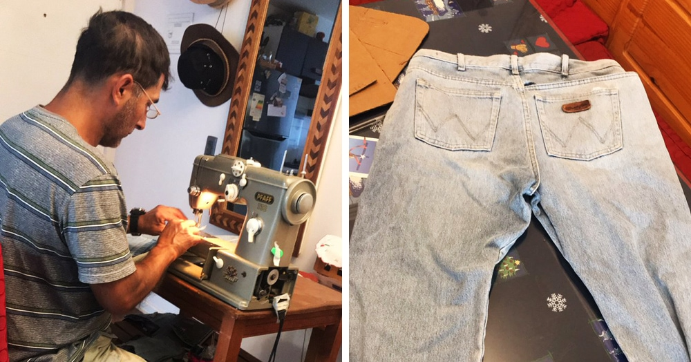 Чилийка показала, как её отец превращает старые джинсы в рюкзак — и это магия рукоделия