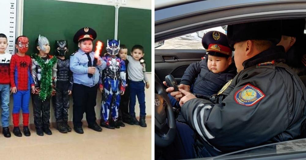 Мальчик пришёл на утренник в костюме полицейского и понравился всем — даже настоящим полицейским