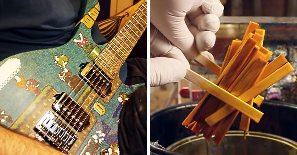 Мужчина собрал гитару из 10 тысяч палочек для леденцов с рисунком из «Марио». И на ней можно играть!