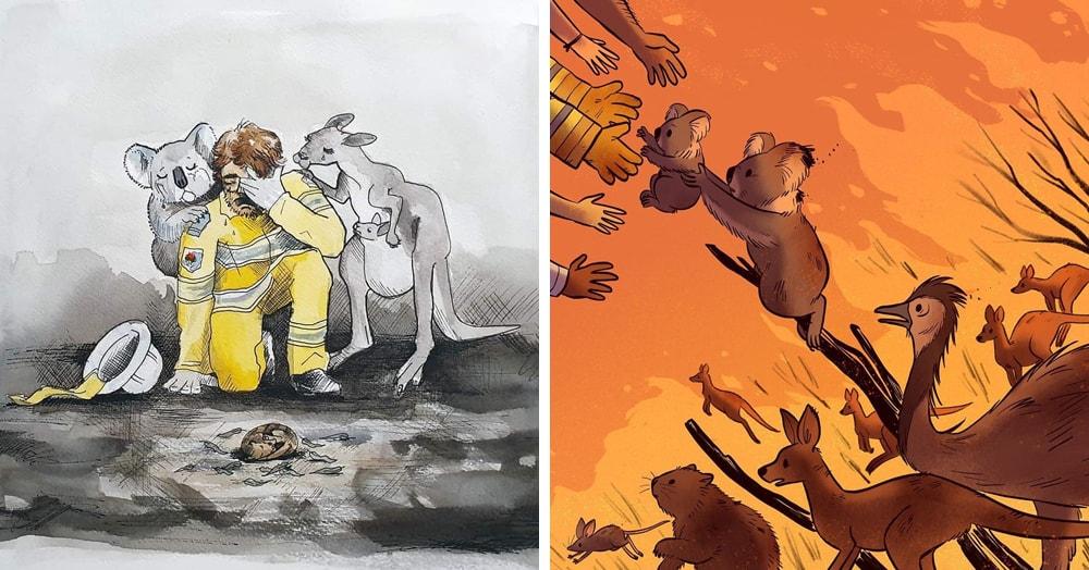 30 душераздирающих иллюстраций, которые художники посвятили пожарам в Австралии