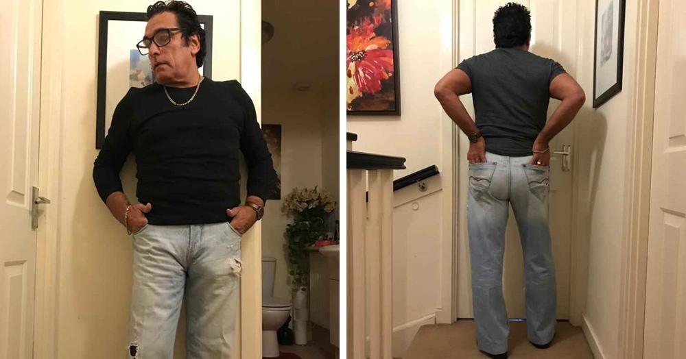 Мужчина решил продать джинсы и устроил им фотосессию. Но только кажется, что рекламирует он не штаны, а себя