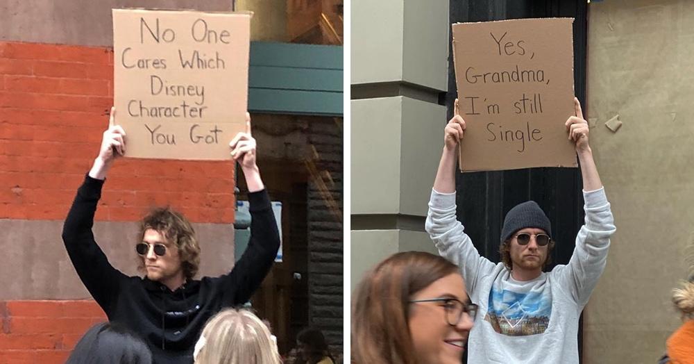 «Никого не волнует, какой вы персонаж Диснея»: американец выходит на улицы с плакатами о вещах, которые бесят