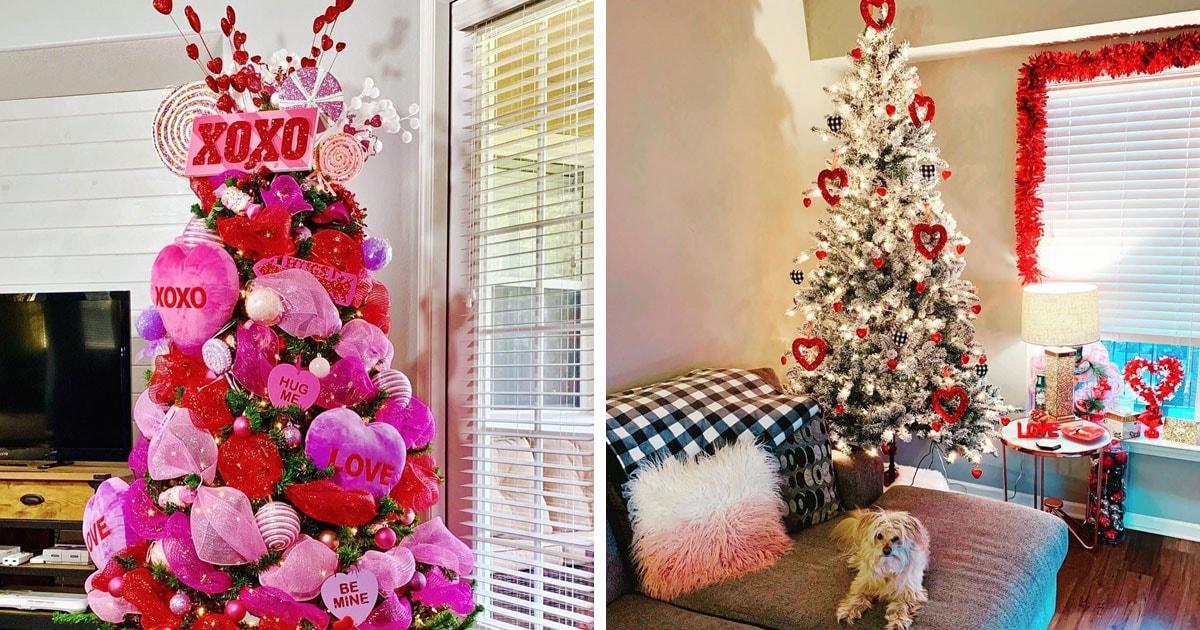 Тренд для тех, кто не хочет убирать ёлку: деревья, украшенные ко Дню святого Валентина для романтичного декора