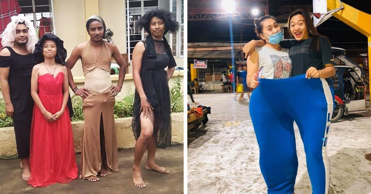 Филиппинцы, эвакуированные из-за извержения, не унывают и собирают странные образы из пожертвованной им одежды