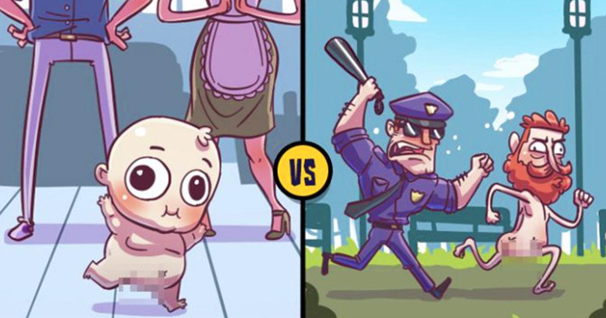 Что для младенца простительно, то взрослому уже никак: комиксы-сравнения жизни детей и всех остальных