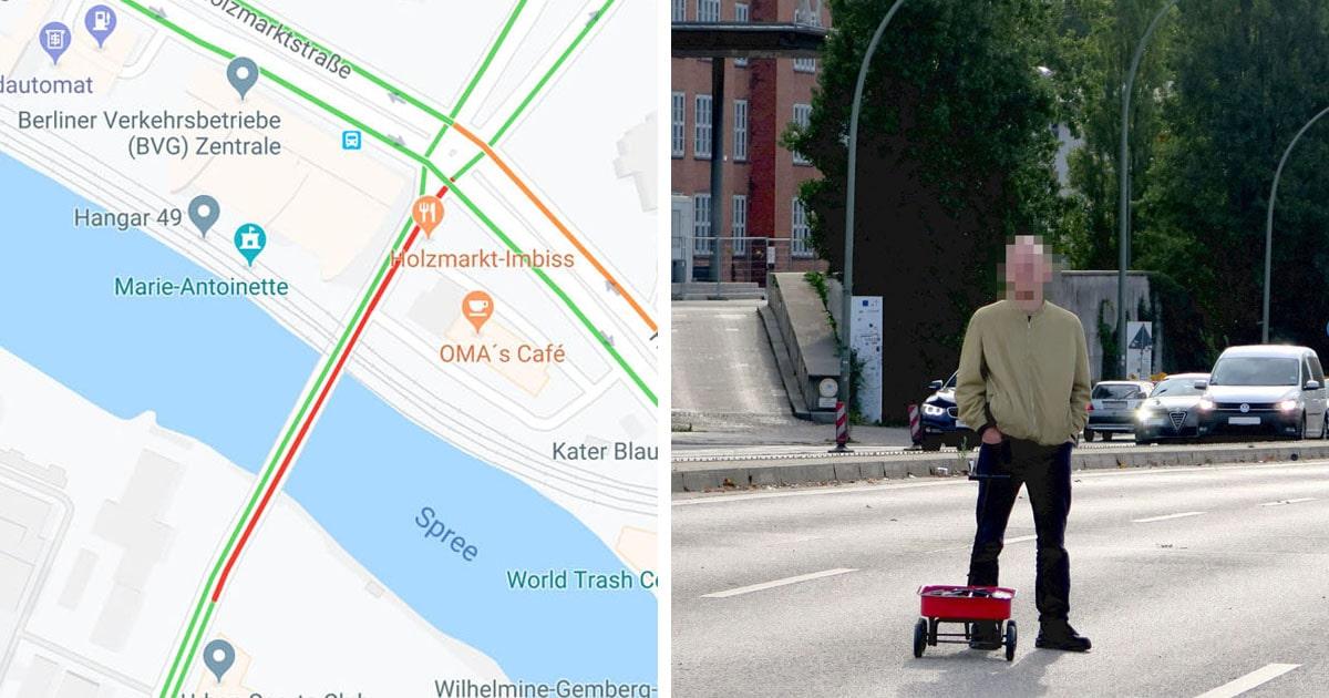 Художник обманул карты Google и создал пробку, которой нет. Для этого ему понадобилась тележка и 99 смартфонов