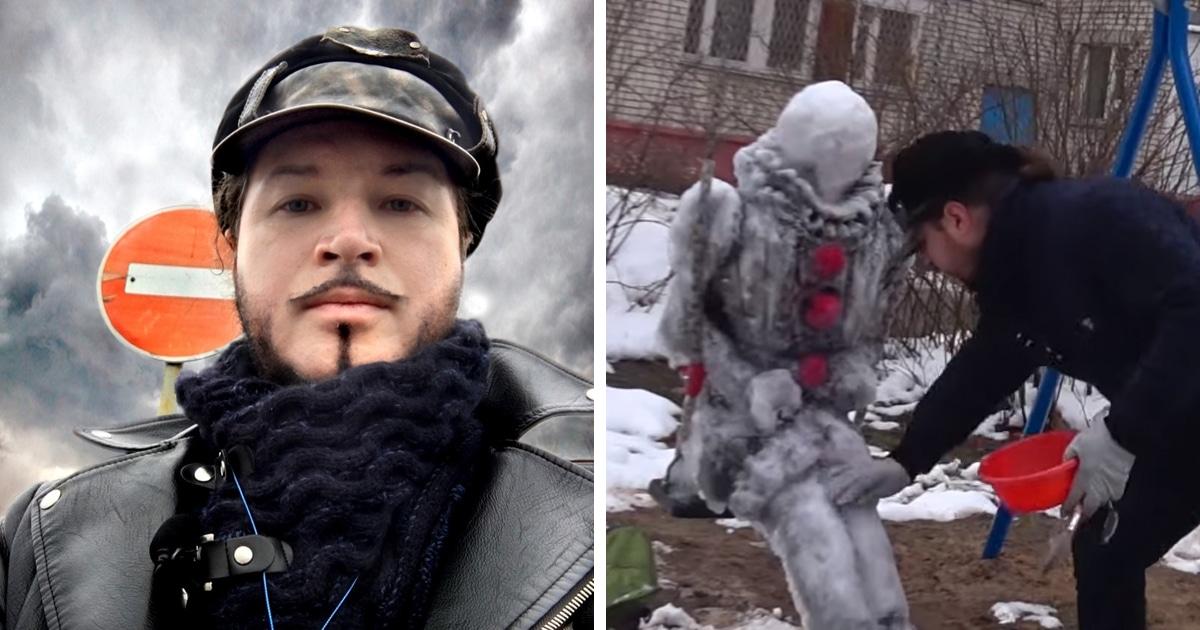 Житель Сарова слепил во дворе очень реалистичного снеговика. Но, встретив его, можно остаться заикой
