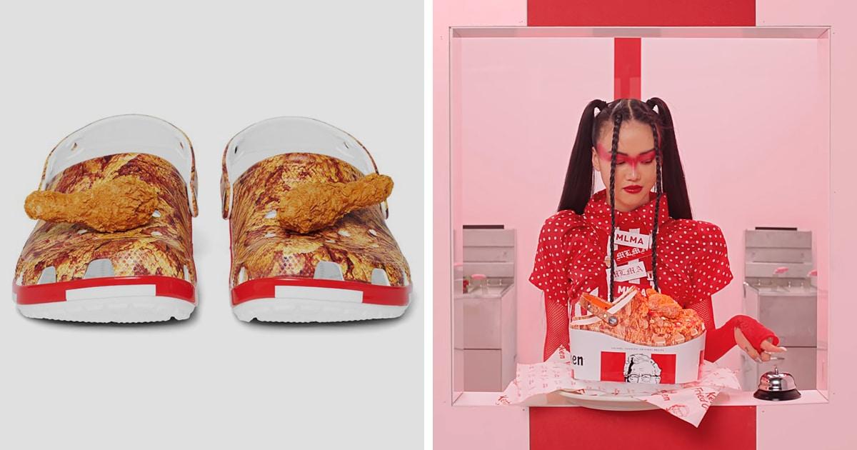 Crocs и KFC представили обувь с кусками жареной курицы. Они несъедобные, зато пахнут