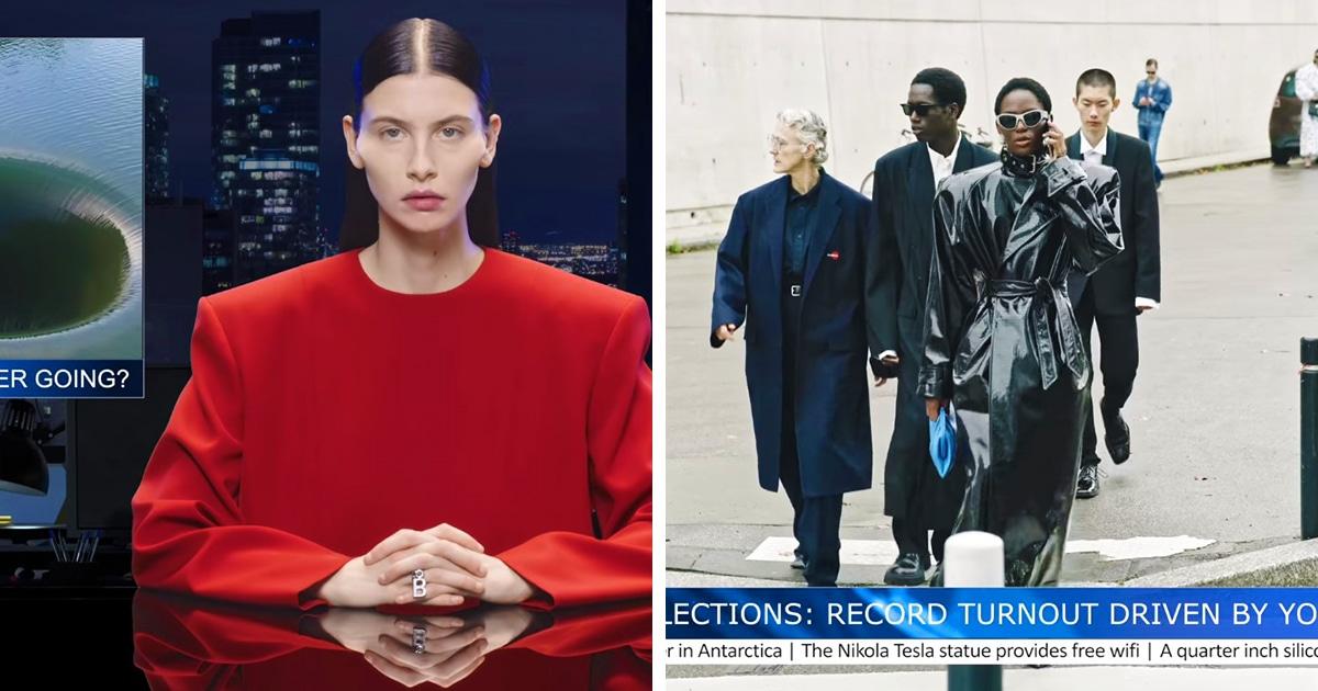 Дом моды Balenciaga выпустил очень странную рекламу новой коллекции. Её превратили в упоротый выпуск новостей