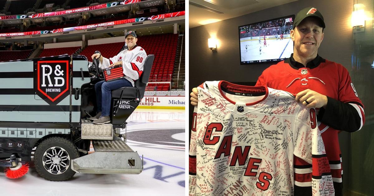 Хоккейная команда осталась без вратаря в матче НХЛ, и на замену вышел заливщик льда. И помог команде победить!