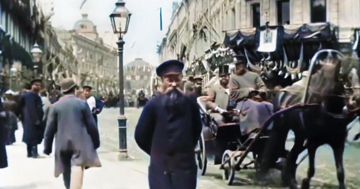 В сети появились уникальные кадры жизни Москвы 1896 года в цвете и с качеством 4k. Настоящий портал в прошлое!