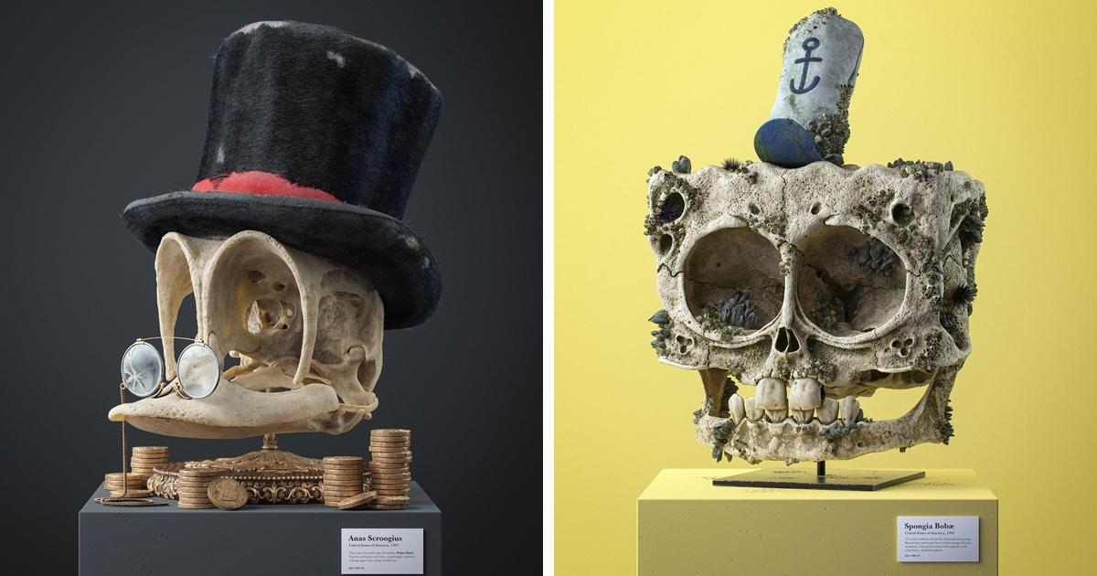 3D-художник создал проект, в котором показал, как могли бы выглядеть черепа персонажей известных мультфильмов