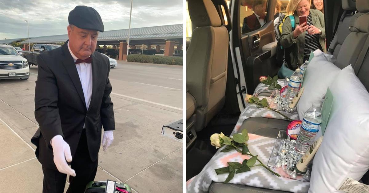 Муж притворился личным водителем, встречая жену из аэропорта. И за такую поездку он точно заслужил 5 звёзд!