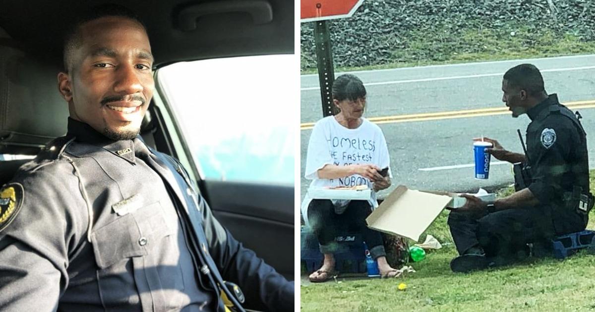 Полицейский купил бездомной поесть и пообедал вместе с ней — на это его подтолкнула надпись на её футболке