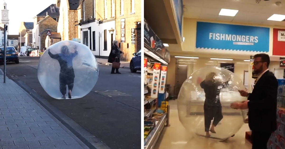 Британка последовала совету держать дистанцию и прикатилась в магазин в шаре. Это был розыгрыш, но зато какой!