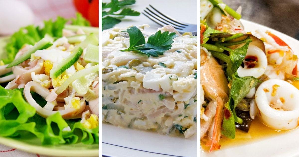 10 самых вкусных салатов с кальмарами