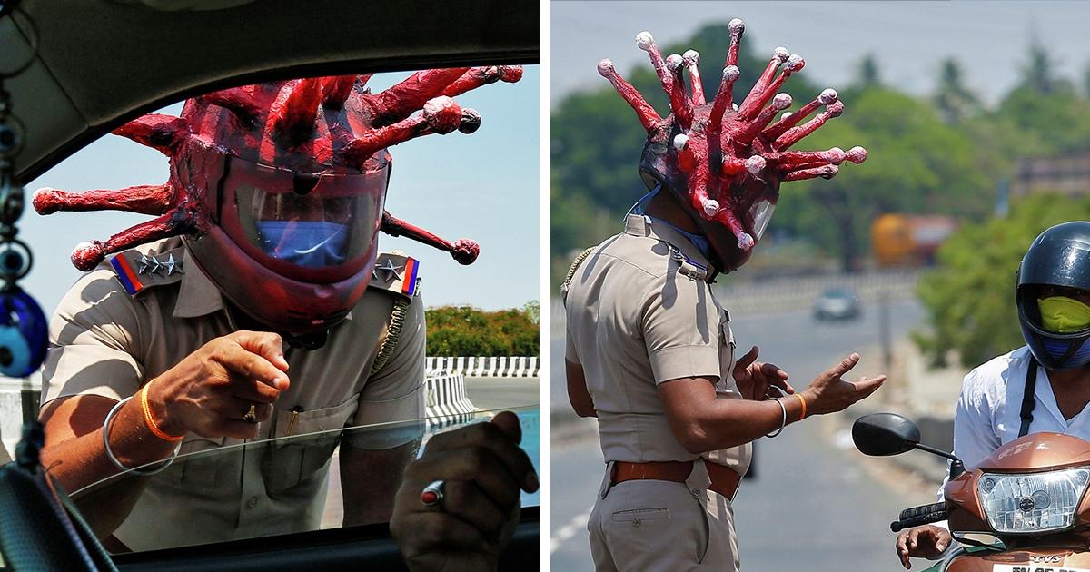 Полицейский из Индии придумал экзотический метод убеждения граждан оставаться дома — он оделся в коронавирус