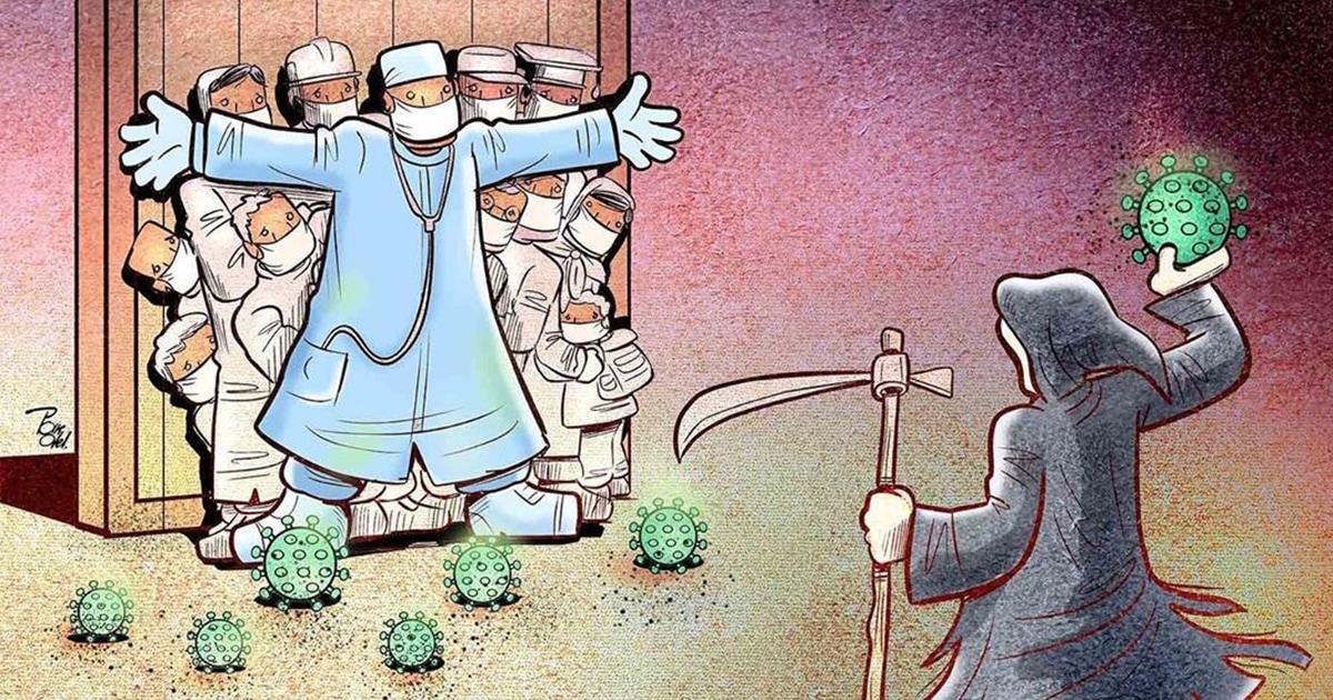 15 мощных рисунков от иранского художника, которые показывают борьбу врачей с коронавирусом по всему миру