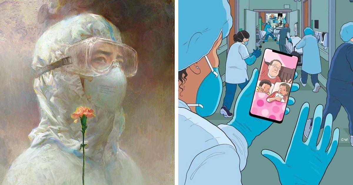 20 душевных работ, которые художники посвятили главным бойцам с коронавирусом — медикам