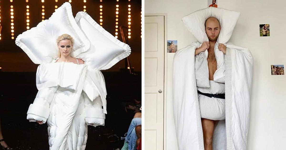 Люди на карантине устроили флешмоб и копируют дизайнерские наряды — нужно немного юмора и подручные вещи