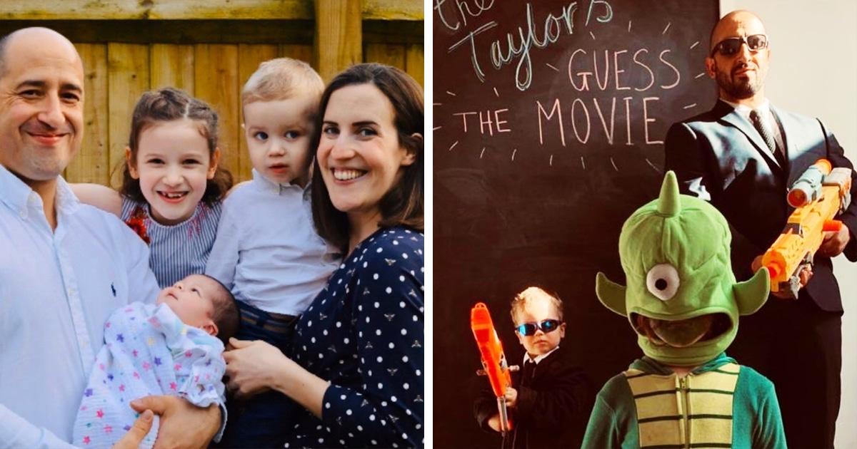 Британская семья борется со скукой, воссоздавая кадры из фильмов, и предлагает угадать их по фотографиям