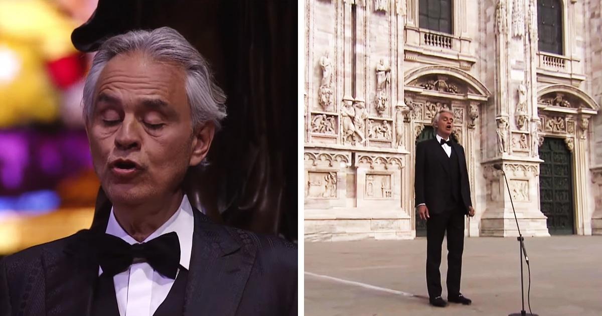 Итальянский певец Андреа Бочелли дал онлайн-концерт в пустом Миланском соборе. Он посвящён Италии и всему миру
