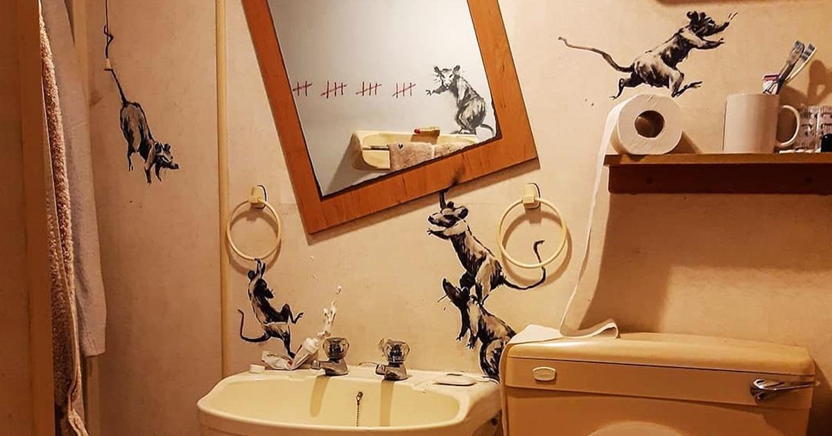 Британский художник Бэнкси тоже работает из дома. Он показал свой новый проект из собственной ванной
