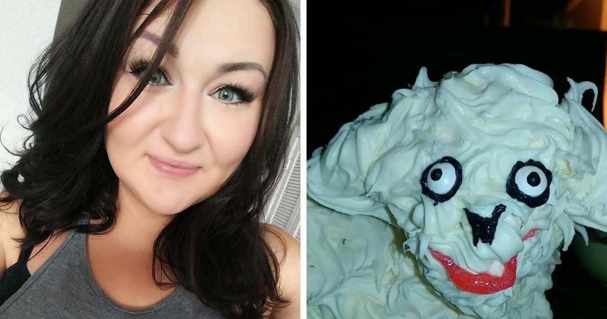 Девушка купила страшненький торт и решила его исправить. Успеха не вышло, ведь из страшного он стал кошмарным