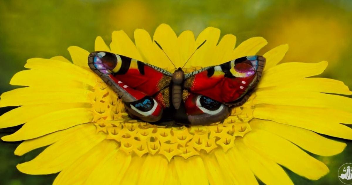 Художник нарисовал на модели бабочку, сделав лучший боди-арт. Заметить, как лежит девушка, по силам не каждому