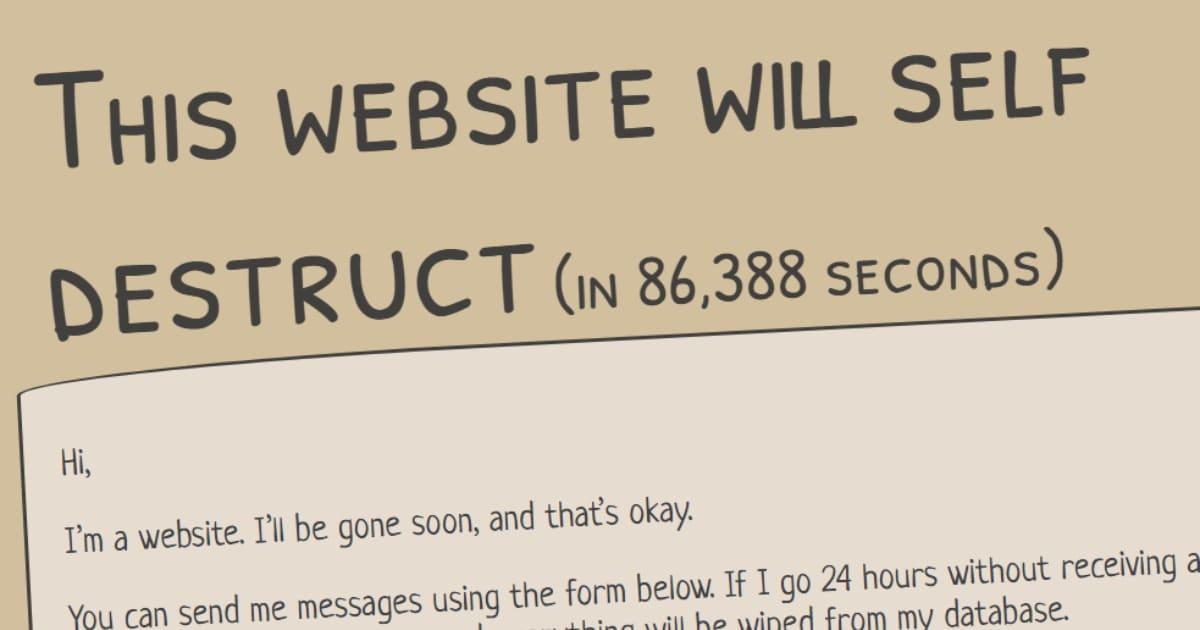 В сети появился сайт, который самоуничтожится через 24 часа. Чтобы он выжил, люди должны писать ему сообщения