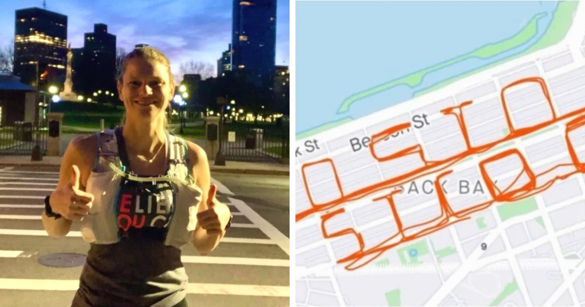 Медсестра из Бостона в одиночку пробежала марафон. Она хотела сделать мотивирующую надпись в GPS, но ошиблась
