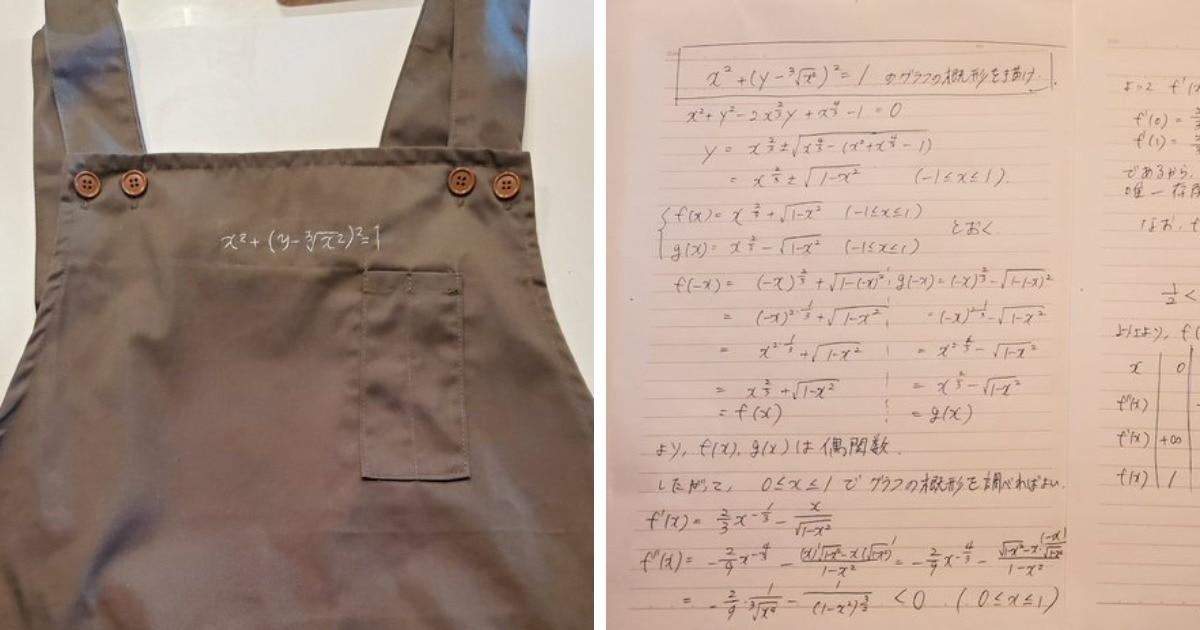 Японец получил в подарок от жены фартук с уравнением. Он решил его, и это оказалось хитрым признанием в любви