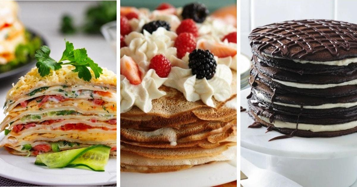 10 рецептов самых вкусных блинных тортов, которые могут быть как десертом, так и закуской