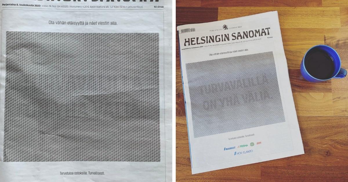 Финская газета вышла с оптической иллюзией на обложке. Увидеть, что там, можно, только вспомнив о дистанции
